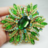 Gold Tone Green Oval Flower Woman Brooch Pin Rhinestone Crystal Party Accessorie