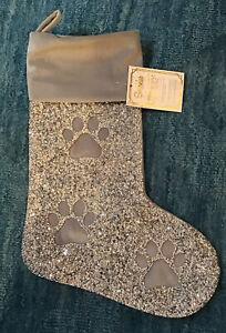 Sparkles Home Luminous Collection Rhinestone Paw Print Christmas Silver Stocking