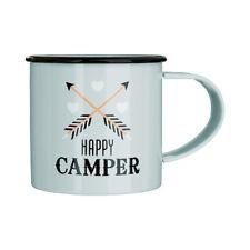 Happy Camper Coffee Mug Galvanised Steel Powder Coated 350ml Camping Tea Cup