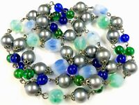 Vintage Blue Green Iridescent Pearl Wired Glass Bead Necklace 34' GIFT BOXED