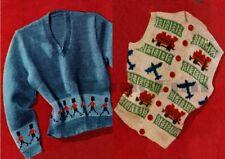 Knitting Pattern Child's Waistcoat & Sweater. Soldier, Trains, Aeroplanes Motifs