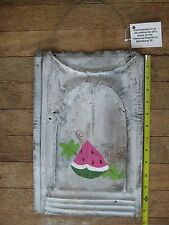 Rustic White Washed WATERMELON Metal Roofing Tin Sign Distressed Retro Vintage