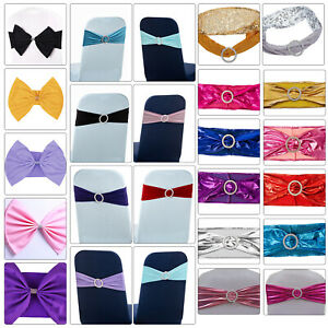 Spandex Elasticity Stretch Chair Cover Bow Band Buckle Slider Sashes Party Decor