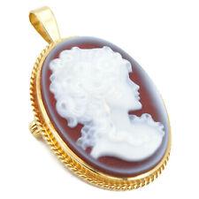 Feine Achat-Kamee Damen-Portrait in Gold 585 Gemme
