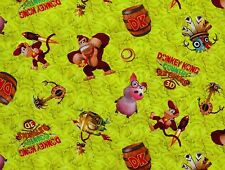 """NINTENDO DONKEY KONG COUNTRY RETURNS 3D SPRINGS  100% COTTON FABRIC  10"""" REMNANT"""
