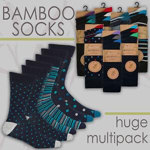 Mens Bamboo Super Soft Gentle 3 6 12 Pairs Luxury Socks Bundle Plain Size 6-11