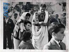 Elizabeth Taylor Richard Burton w/kids Cleopatra VINTAGE 7x9 Photo candid on set