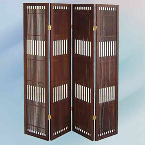 4 Panel Antique Style Room Screen Divider, Brown Cherry