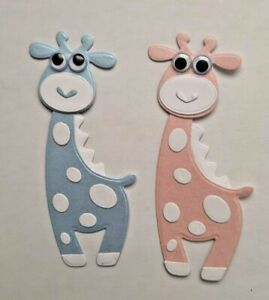 4 x Googly Eyed Pink & Blue Giraffe Die Cut Card Toppers for Baby Cards