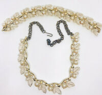 Signed JUDY LEE Necklace & Bracelet Demi AB Rhinestone Pearl Vintage Jewelry