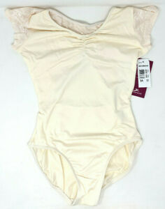 NEW Women's Dance Leotard Motionwear # 2233 White Cream Color with Lace