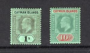 Cayman Is 1908 KEVII 1sh & 10sh - OG MH - SC# 29-30  Cats $290.00   No Reserve!