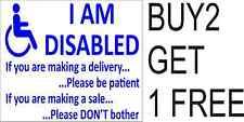 IO sono disabile Adesivo Porta firmare la consegna delle vendite info mobilità disabilità