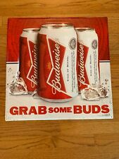 "Budweiser Beer Can Tin Metal Sign Grab Some Buds 21"" Rare Bar Garage Mancave"