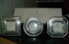 POTTERY BARN set 3 pewter tone estate picture frames circle square octogon NEW