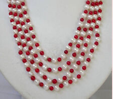 """Pearl white pearl Necklace 14k 100""""surprising 7-8mm+6mm red coral +South Sea"""