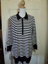 SALE materna moda stripe jumper  black white stretch  zip neck