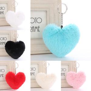 Heart Keyring Soft Faux Fluffy Fur Car HandBag Pendant Charm Pompom Keychain