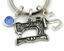 Personalised Singer Sewing Machine Key Ring, Any Initial Any Birthstone Gift Bag