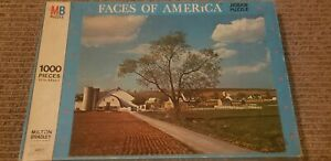 """Vintage Faces of America Amish Farms 1000 piece 20"""" x 26"""" Puzzle 1973 MB"""