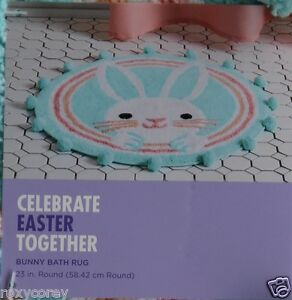 Celebrate Easter Bunny Rabbit Face 23 in Round Bathroom Bath Mat Rug NWT
