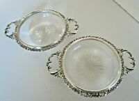 Pair Silver & Cut Glass 2 Handled Dishes, Hallmarked Birmingham 1904