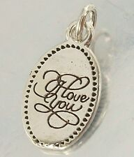 925 STERLING SILVER thin small I Love you CHARM PENDANT 9mm x 13mm oxidised 0.9g