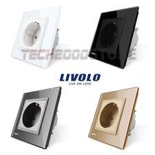 LIVOLO TOMA CORRIENTE SIMPLE ENCHUFE PARED PANEL CRISTAL UE LUXURY POWER SOCKET