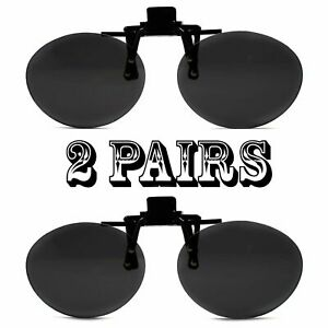 2 Super Black Round Oval Lens Clip On Flip Up Driving Outdoor Sunglasses
