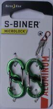 Nite Ize S-Biner MicroLock Aluminum 2 Pack Lime Green Double gated LSBMA-17-2R6