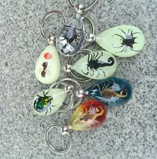 14 PCS MIXED INSECT LUCITE KEYRING KEYCHAIN JEWELRY TAXIDERMY GIFT