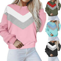 Women Casual Long Sleeve Patchwork Pullover Blouse T-Shirt Crew Neck Sweatshirts