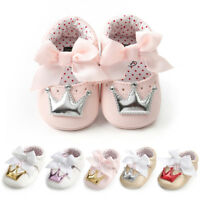 Newborn Infant Baby Girl Crown Princess Shoes Soft Sole Anti-slip Sneakers