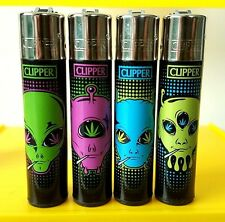 4 Rare Clipper Lighters - Stoned Aliens Weed 420 - Complete Set - x4 pcs