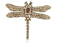 Vintage Golden Tone AB Crystal Rhinestone Dragonfly Topaz Rhinestones Brooch Pin