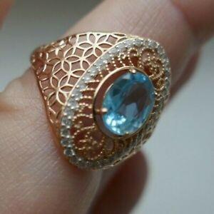 583 Rot Gold wie 585 Ring 14K mit Blautopas und Steinchen Gr.18,2