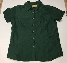 Cubavera Womens Size L Yellow Short Sleeve Button Down Top Green
