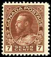 Canada #114 mint F-VF OG NH 1911 King George V 7c red brown Admiral Dry Print