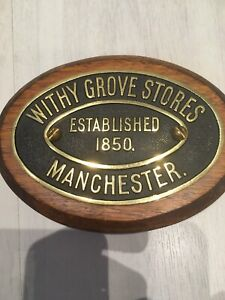 Vintage Old Original Cast Brass Sign Plate Withy Grove Manchester