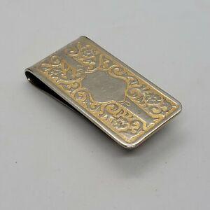 Vintage Rare Colibri Silver Tone W/ Gold tone Money Clip