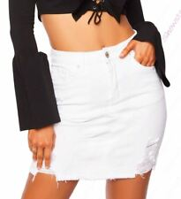 Womens Stretch Denim Skirt Pencil Ripped skirts NEW Size 6 8 10 12 14 White
