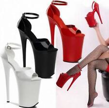 20cm Super High Women's Open Toe Stiletto Large Size Patent Leather Shoes Bt15
