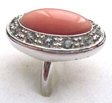 bague bijou vintage couleur argent porcelaine rose imitation cristal diamant 55