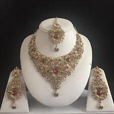 MAROON GOLD INDIAN KUNDAN COSTUME JEWELLERY NECKLACE EARRING CRYSTAL SET BRIDAL