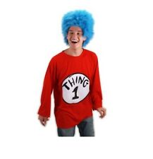 Dr. Seuss THING 1 T-Shirt & Blue Wig Costume - Size: Adult Small Medium S/M