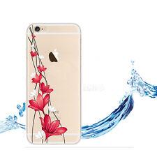 Coque iphone 6/6s transparent motifs fleurs rouge blanc protection silicone soup