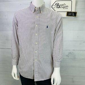 Ralph Lauren Mens Shirt Classic Fit Purple Stripe Button Down Size 16.5 - 32/33