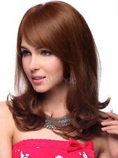 100% Real Hair! Classic Medium Women Wig Fashion Brown Hair Wig