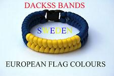 Sweden National Flag  Paracord Wristband Bracelets European Union World Cup