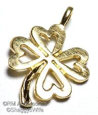 Four Leaf Clover Charm Lucky Pendant EP Gold Plated with a Lifetime Guarantee